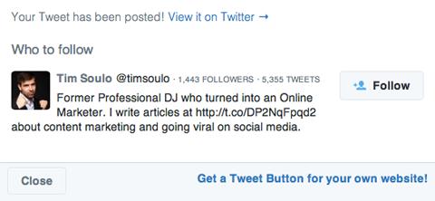 рекомендация в Твиттере