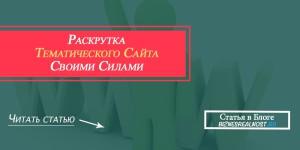 раскрутка тематического сайта